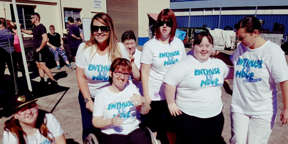 CFN Students wearing Enthuse to Move t-shirts at event